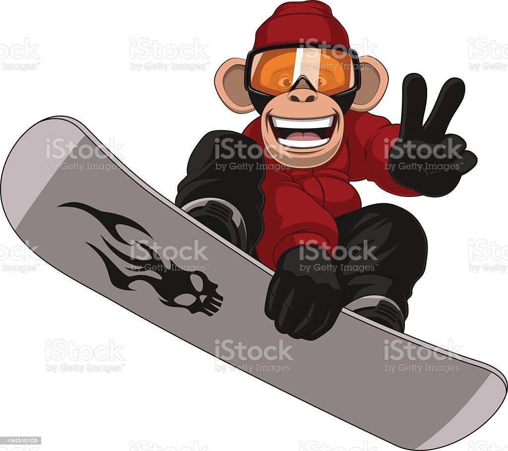 Funny Monkey Snowboarder vector art illustration