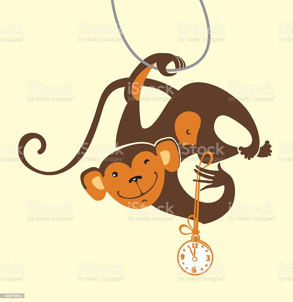 Funny monkey with the clock. vector art illustration