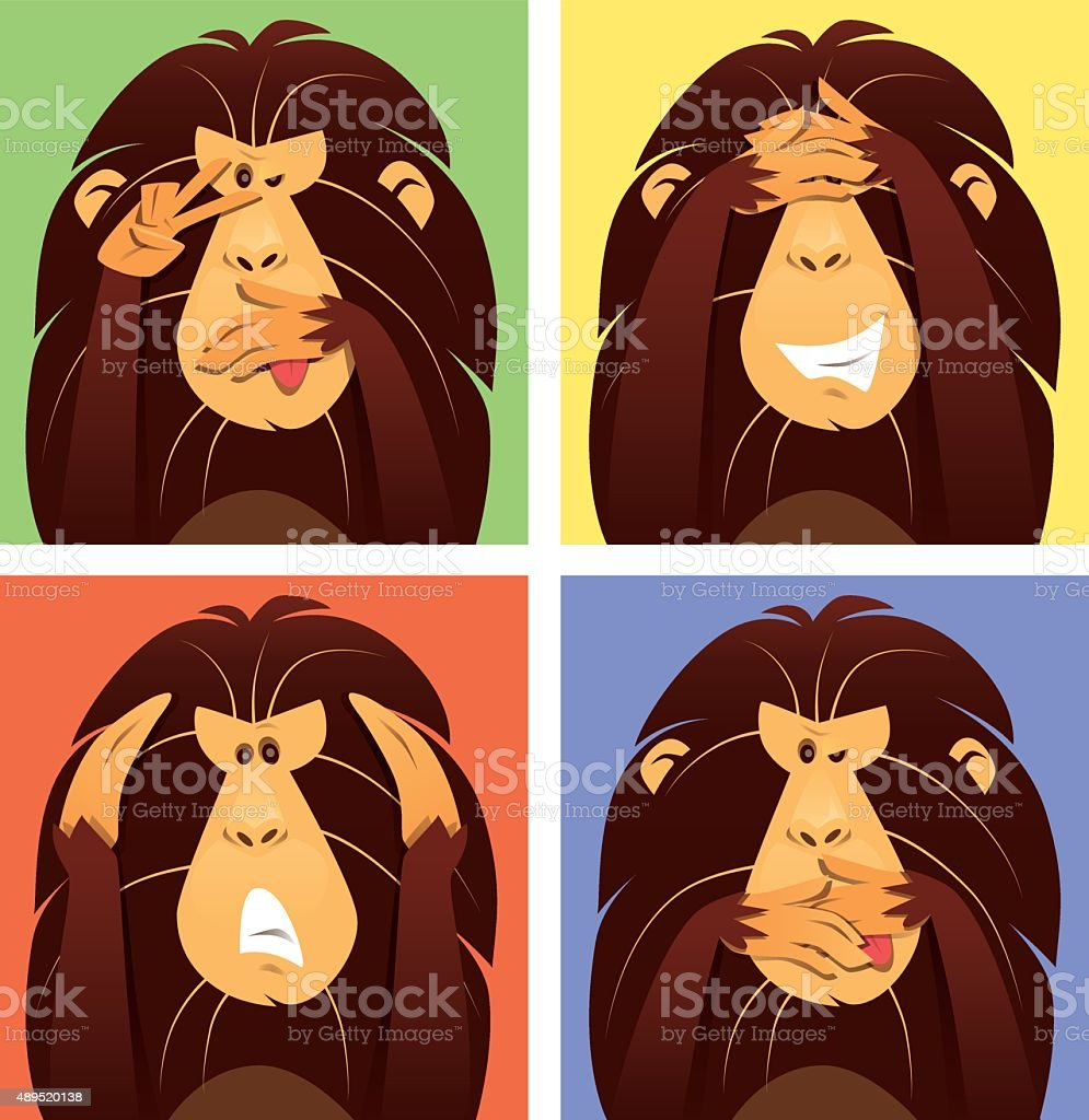 funny monkeys vector art illustration