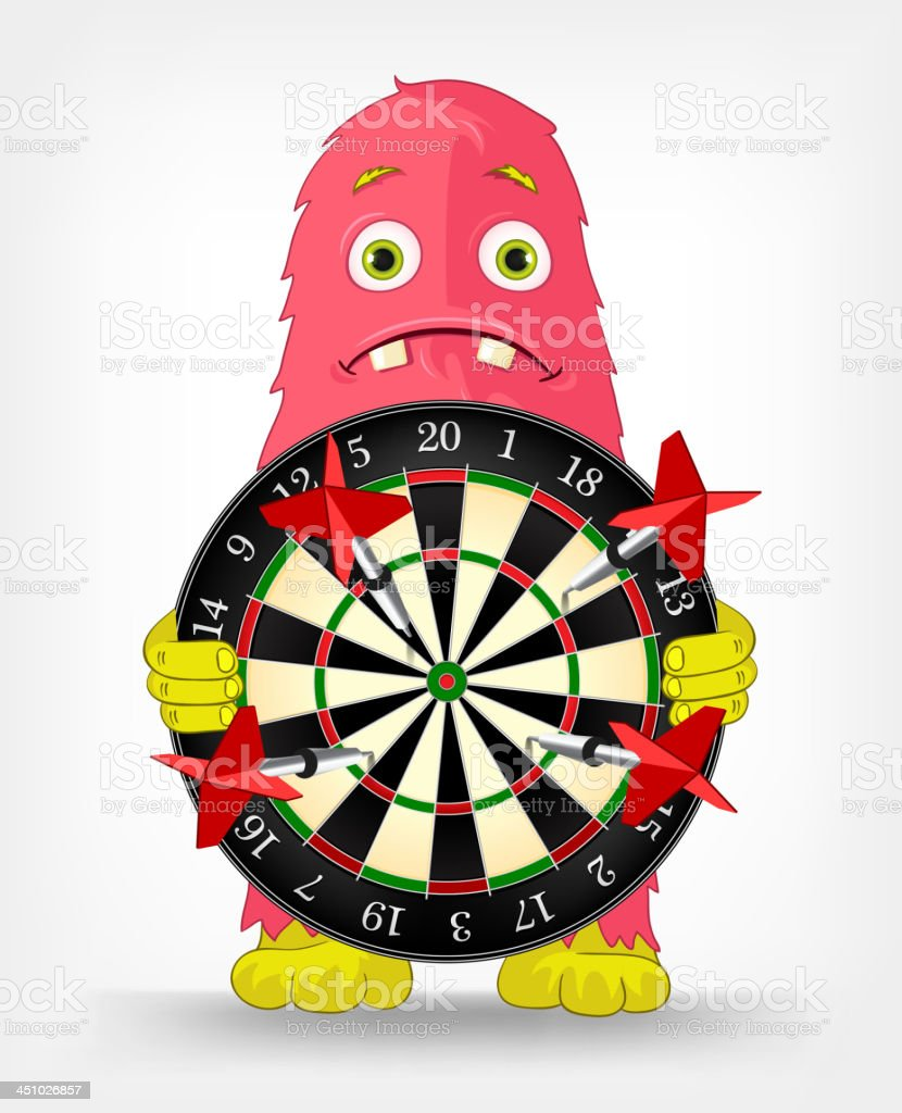Funny Monster. Darts. royalty-free stock vector art