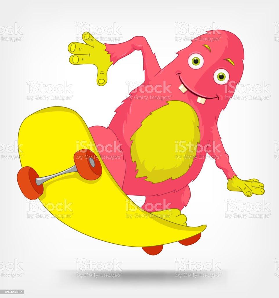 Funny Monster. Skateboarding. royalty-free stock vector art