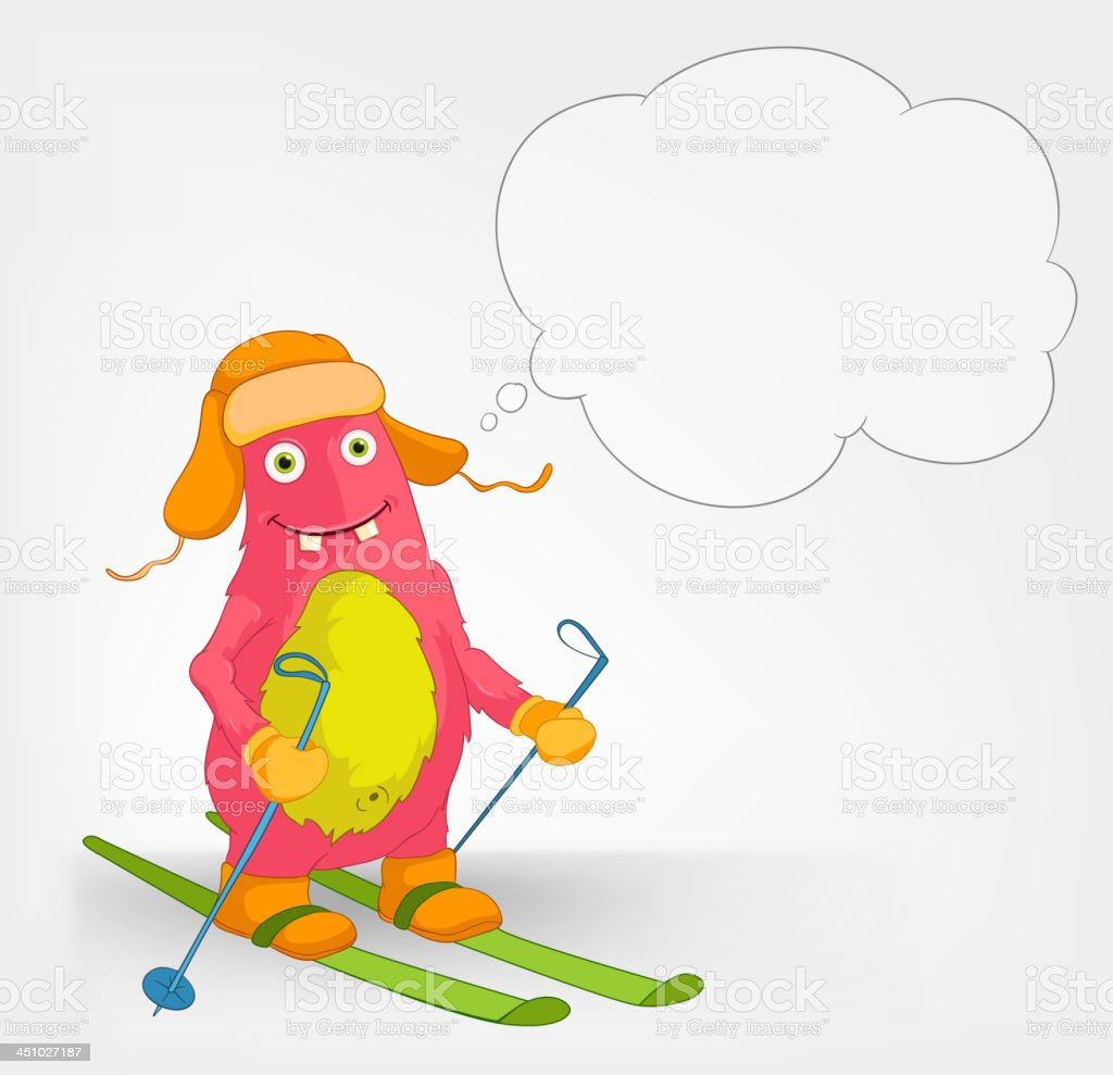 Funny Monster. Skiing. royalty-free stock vector art