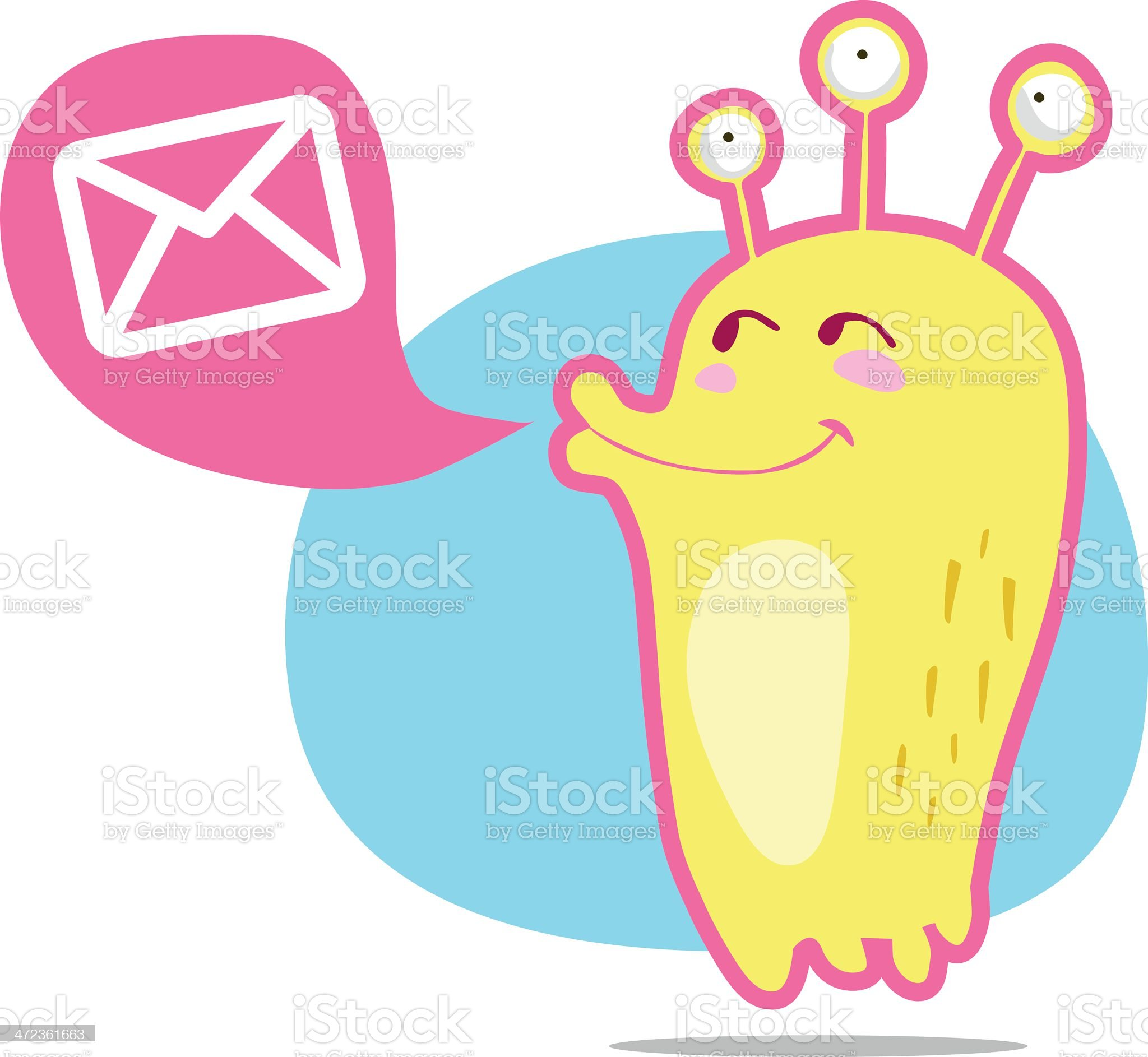 Funny monster with email royalty-free stock vector art