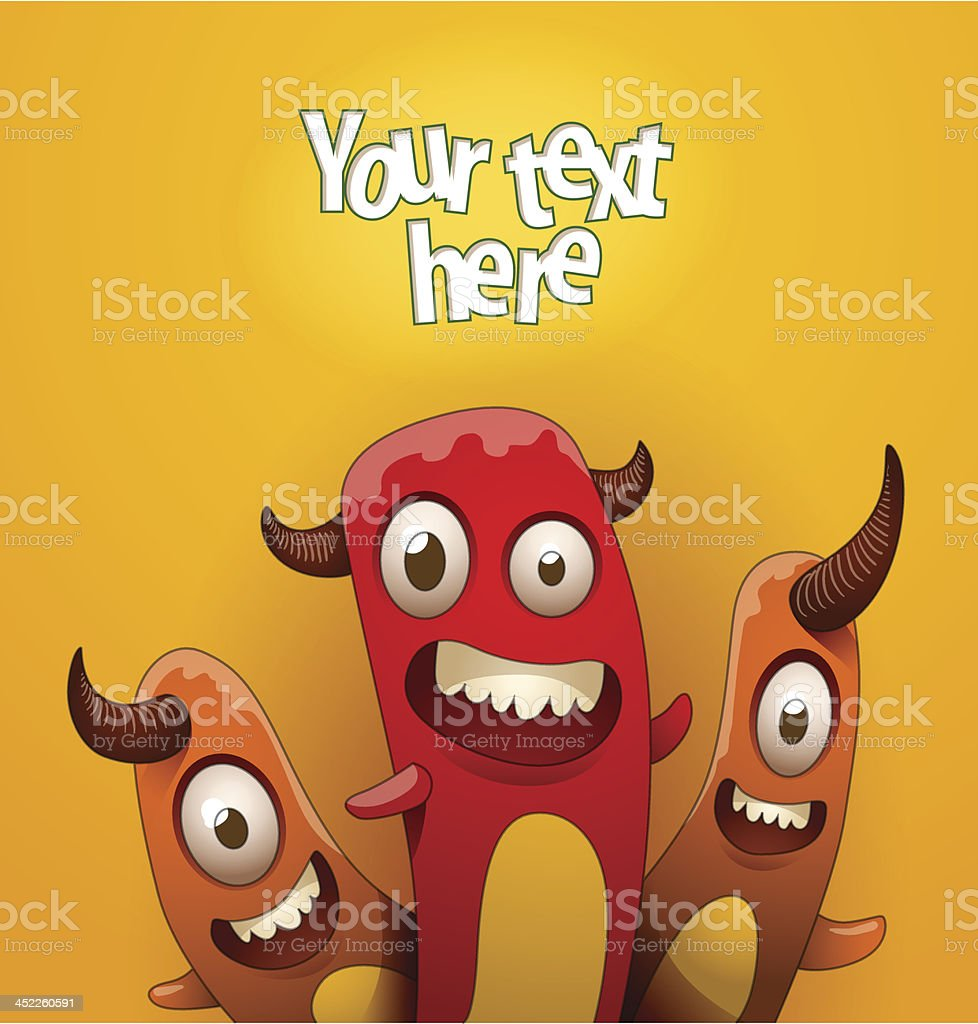 Funny monsters background red and orange royalty-free stock vector art