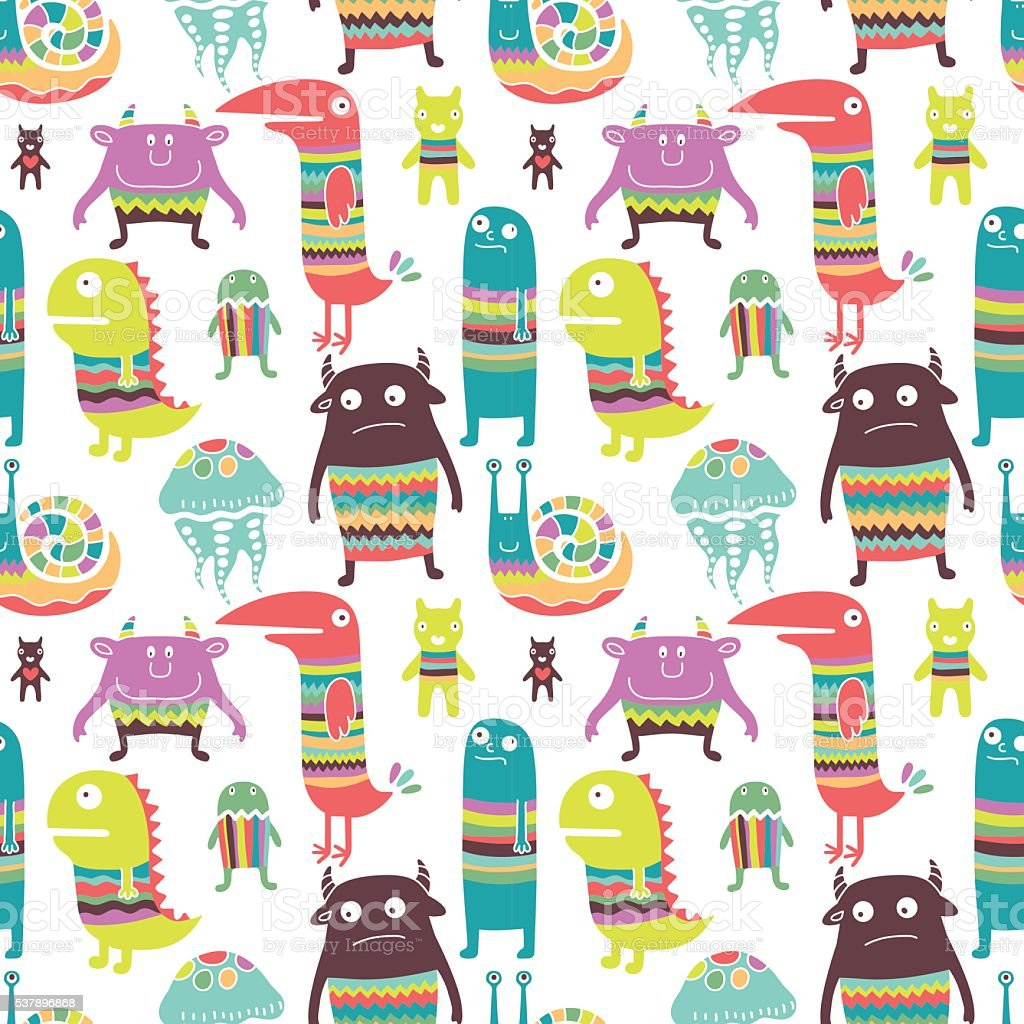 Funny monsters seamless pattern vector art illustration