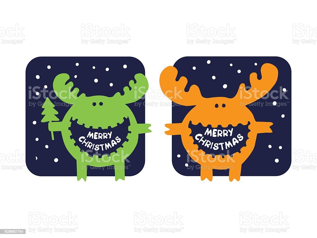funny moose wishes Merry Christmas royalty-free stock vector art