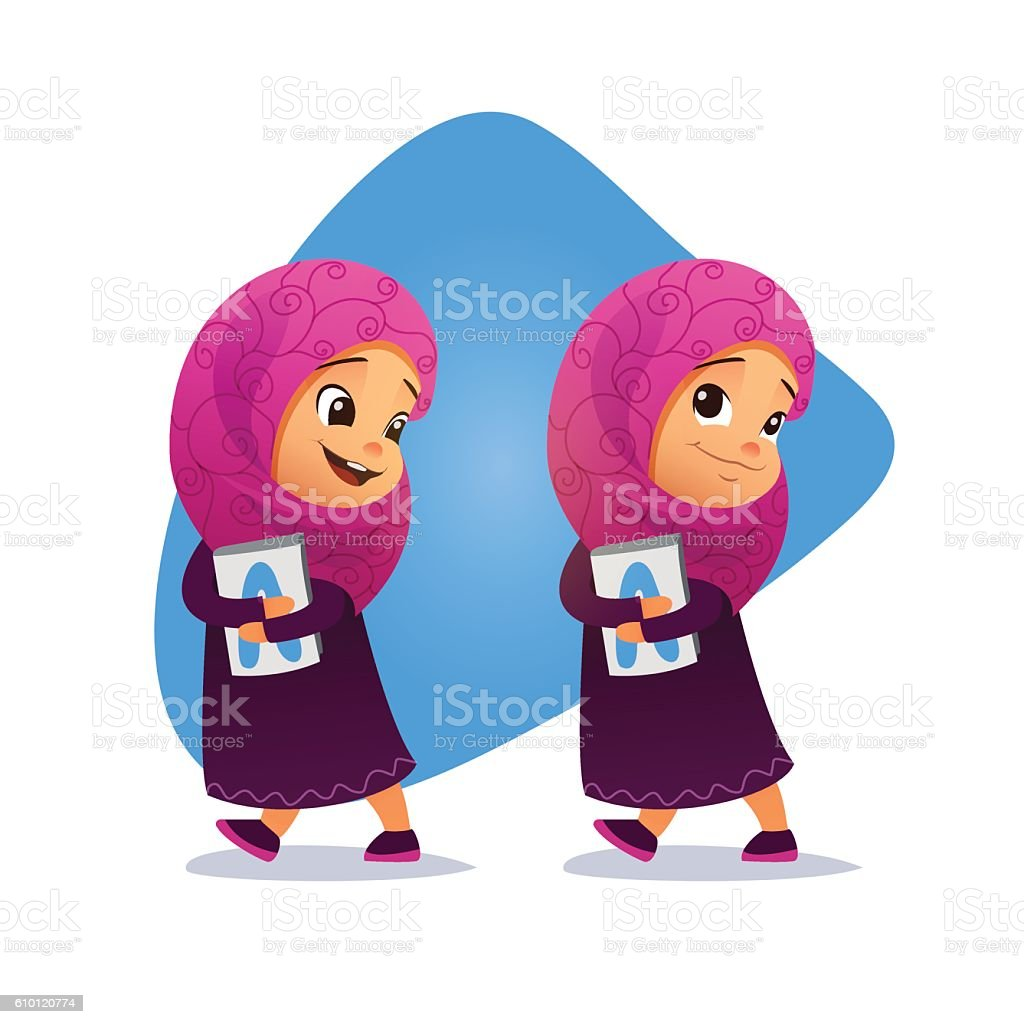 Funny Muslim little girl going with a book vector art illustration