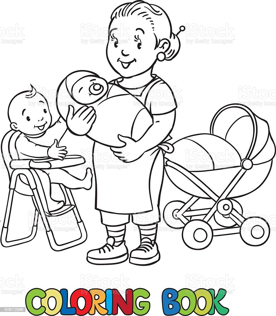 Funny nanny with children. Coloring book. vector art illustration