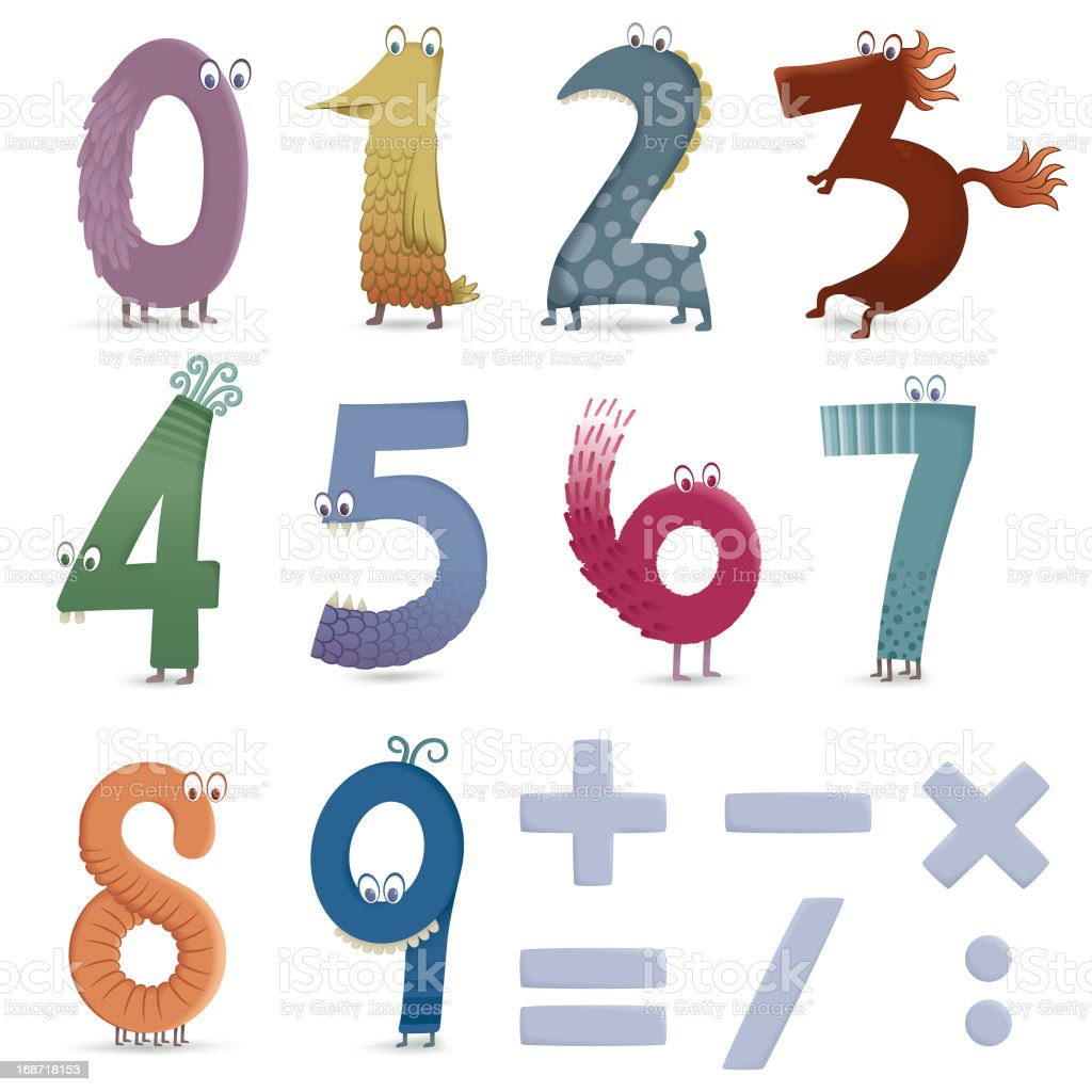 Funny numbers vector art illustration
