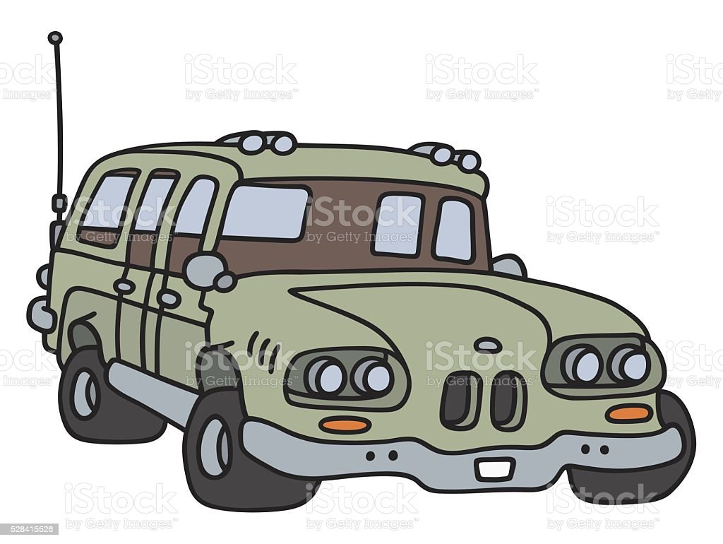 Funny old big station wagon vector art illustration