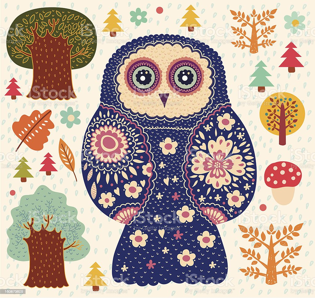 Funny owl, leaves and trees royalty-free stock vector art