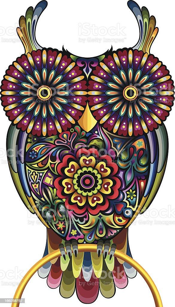 Funny owl vector art illustration