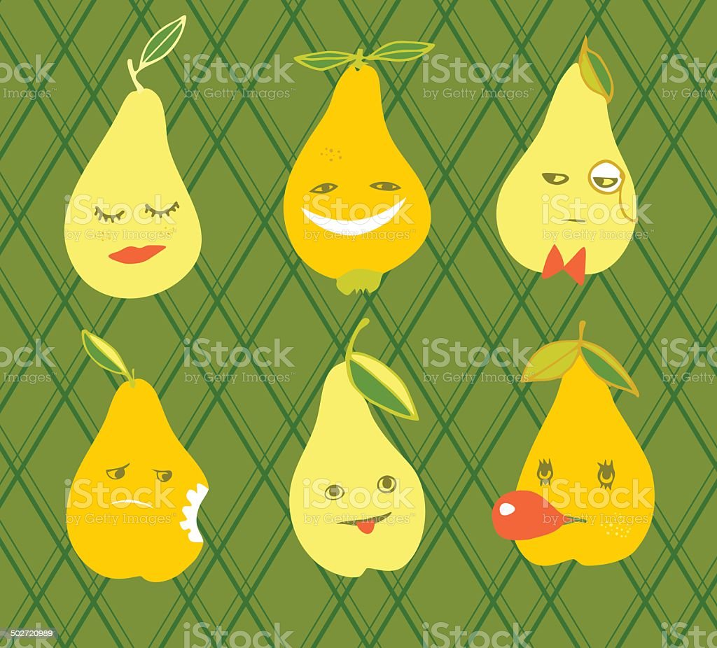 Funny pears royalty-free stock vector art