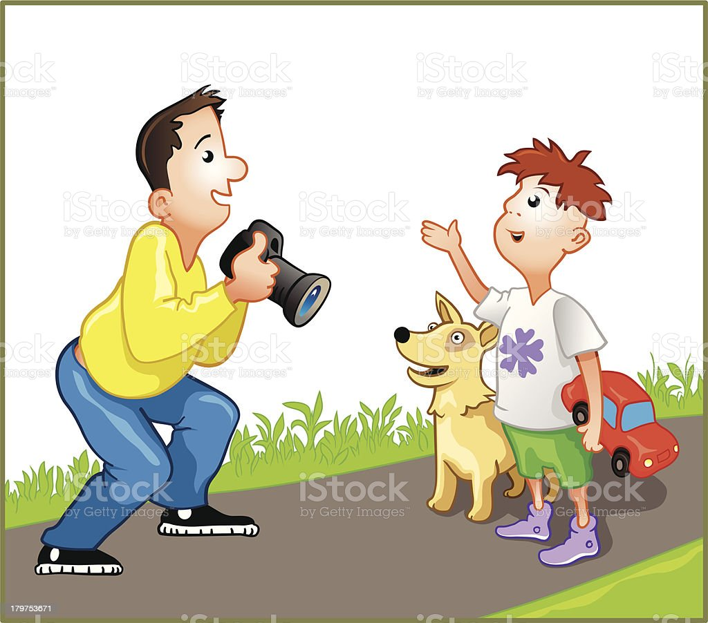 Funny photographer with boy royalty-free stock vector art