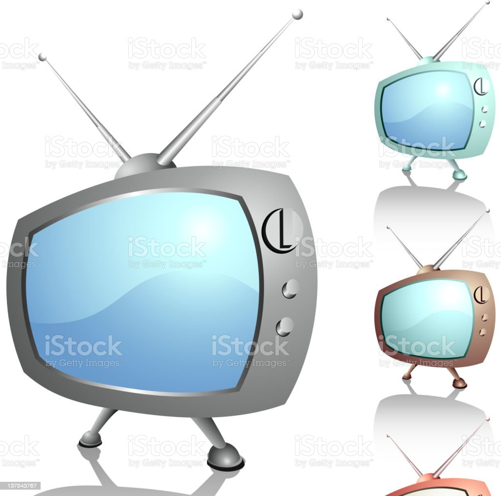 Funny pictures of old televisions vector art illustration