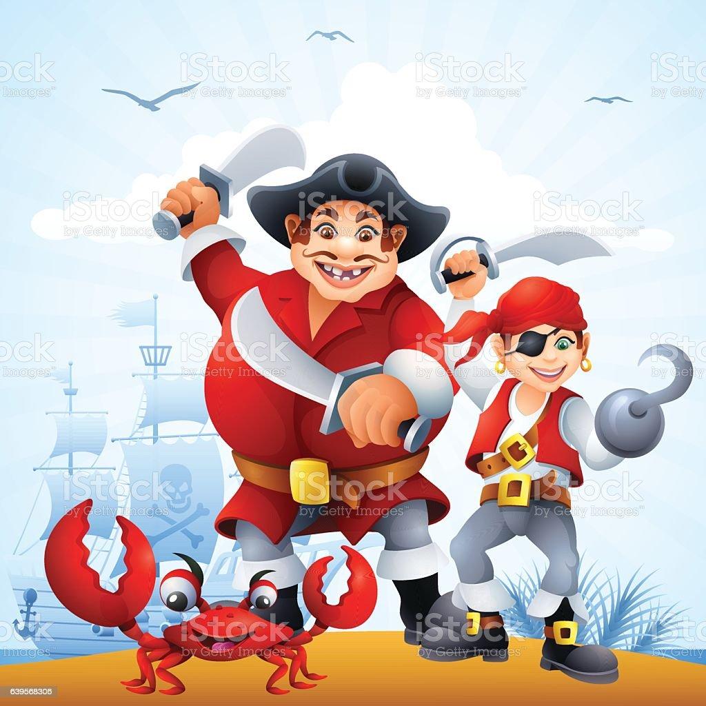 Funny Pirates vector art illustration
