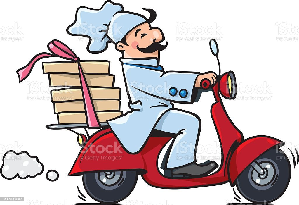 Funny pizza chef on scooter. Pizza delivery vector art illustration