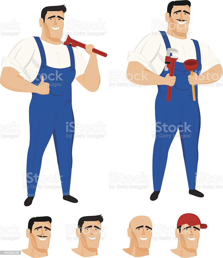 Funny plumber mascot in different poses royalty-free stock vector art