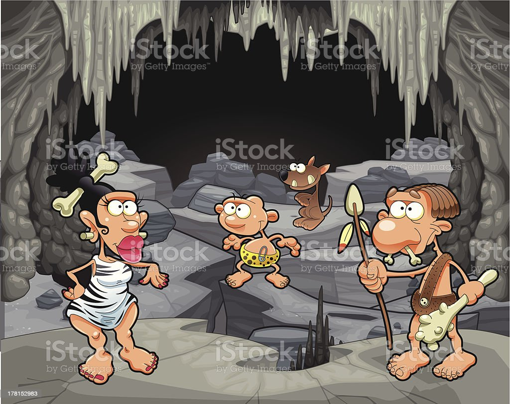 Funny prehistoric family in the cavern. vector art illustration