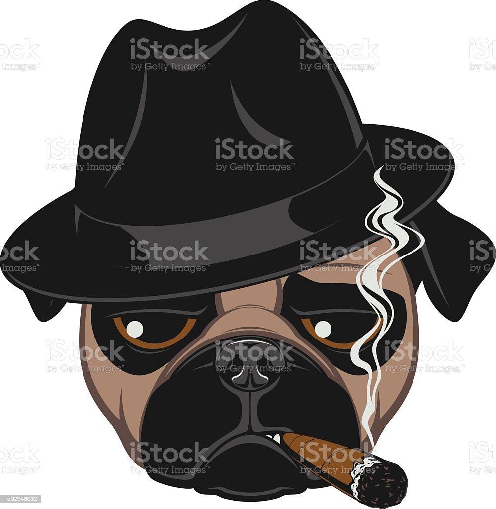 Funny pug with cigar vector art illustration