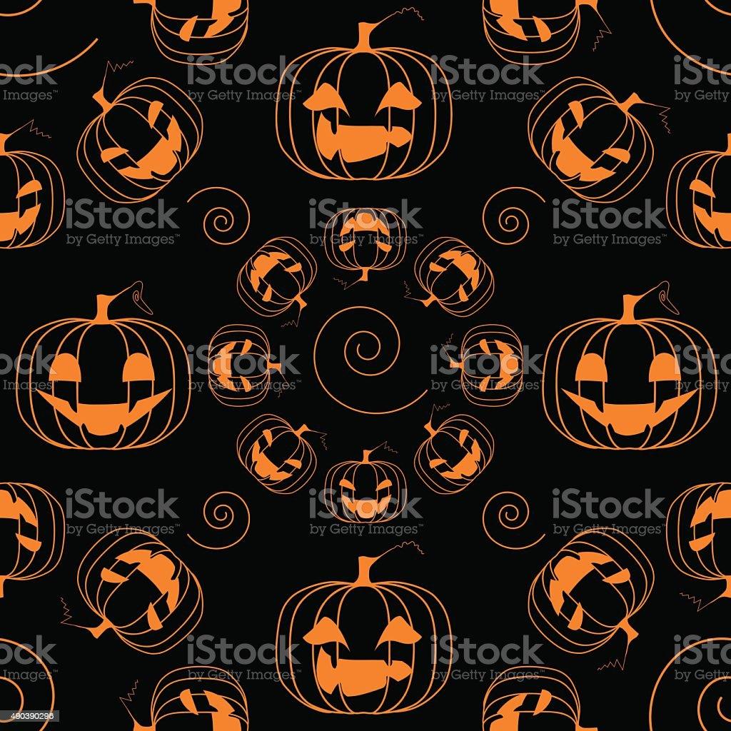 Funny pumpkins seamless pattern vector art illustration