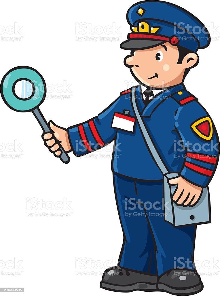Funny railroader. Children vector illustration vector art illustration