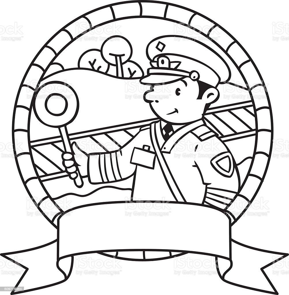 Funny railroader. Coloring book. Emblem vector art illustration
