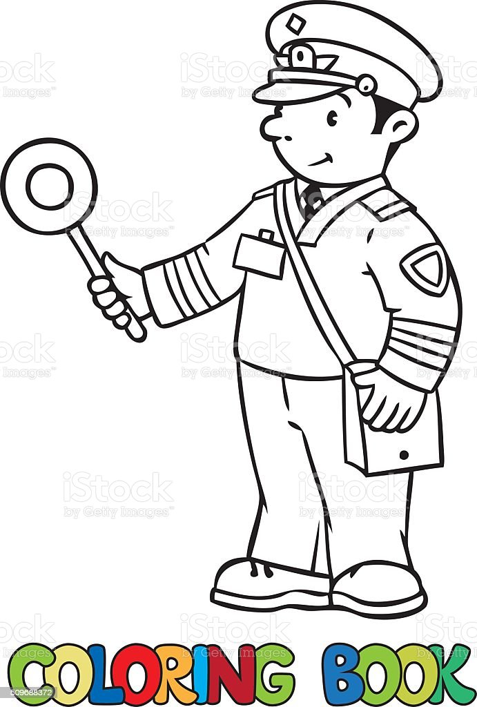 Funny railroader. Coloring book vector art illustration