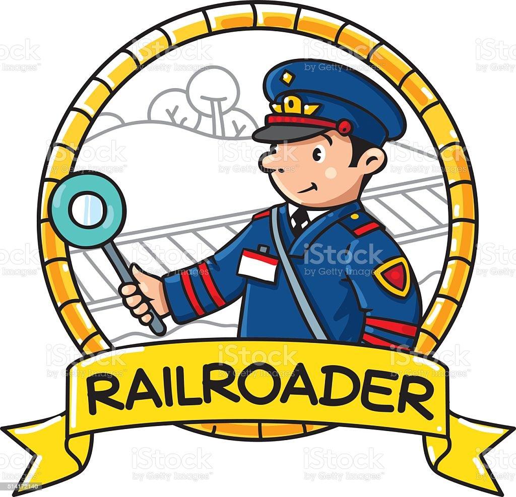 Funny railroader. Emblem. Profession ABC series vector art illustration