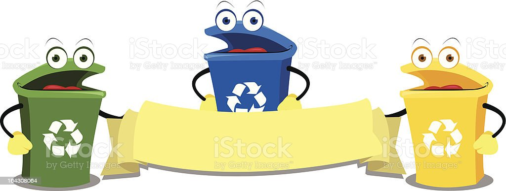 Funny Recycling Bins royalty-free stock vector art