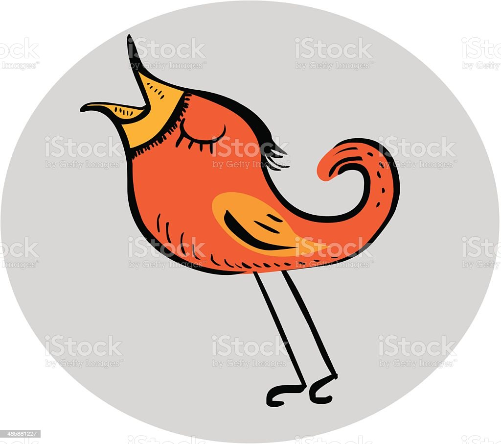 Funny red bird vector art illustration