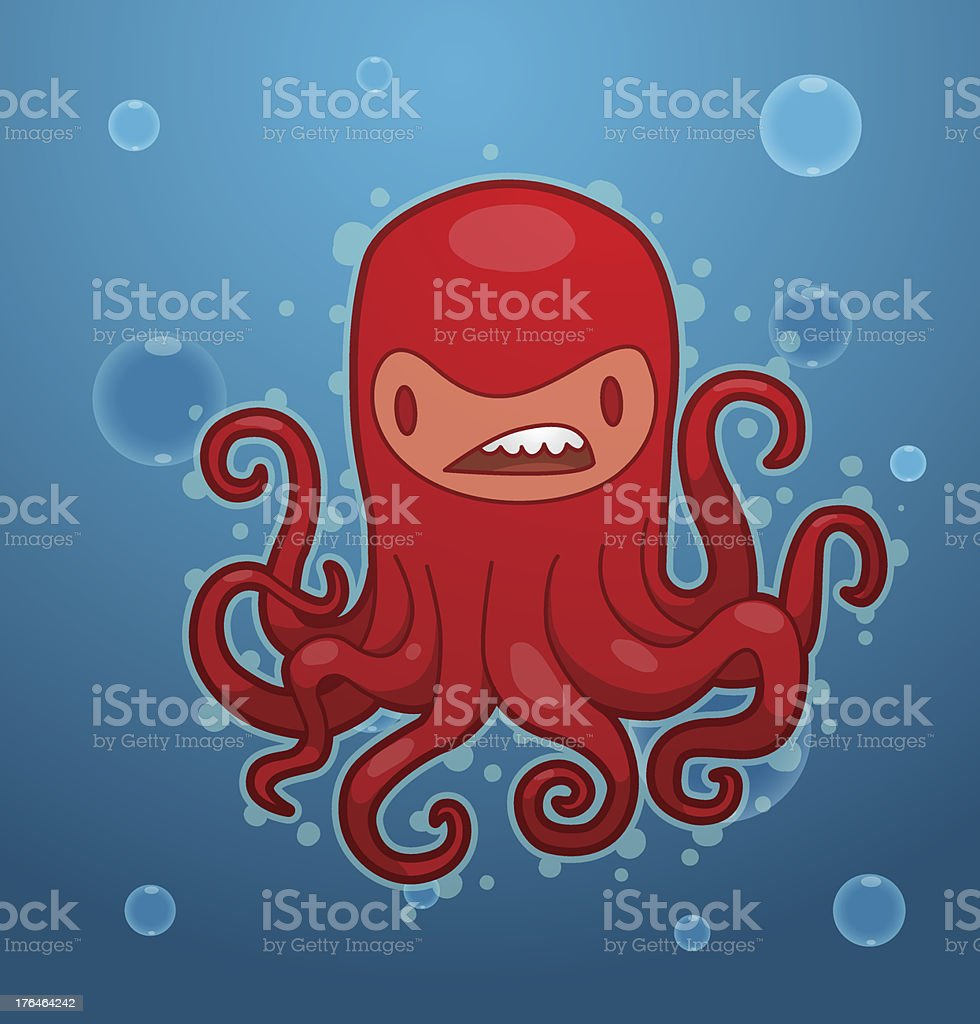 Funny red octopus royalty-free stock vector art