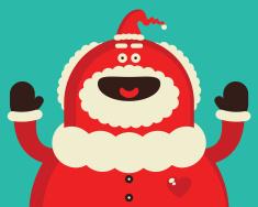 Funny Red Santa Claus Smiling vector art illustration