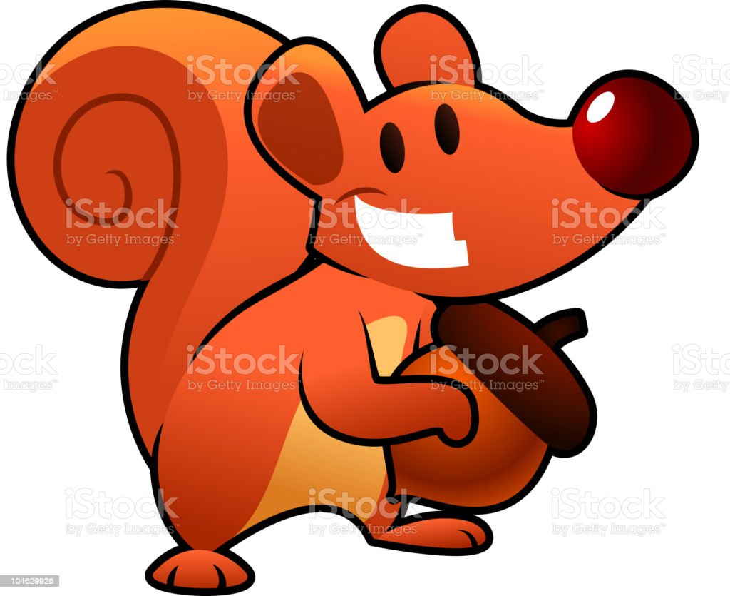 Funny Red squirrel smiling and holding a nut royalty-free stock vector art