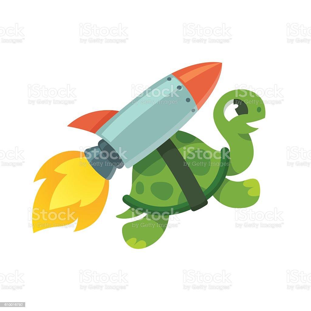 Funny rocket turtle illustration vector art illustration