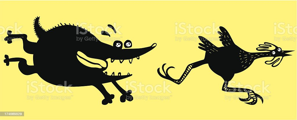 Funny running chicken and dog royalty-free stock vector art