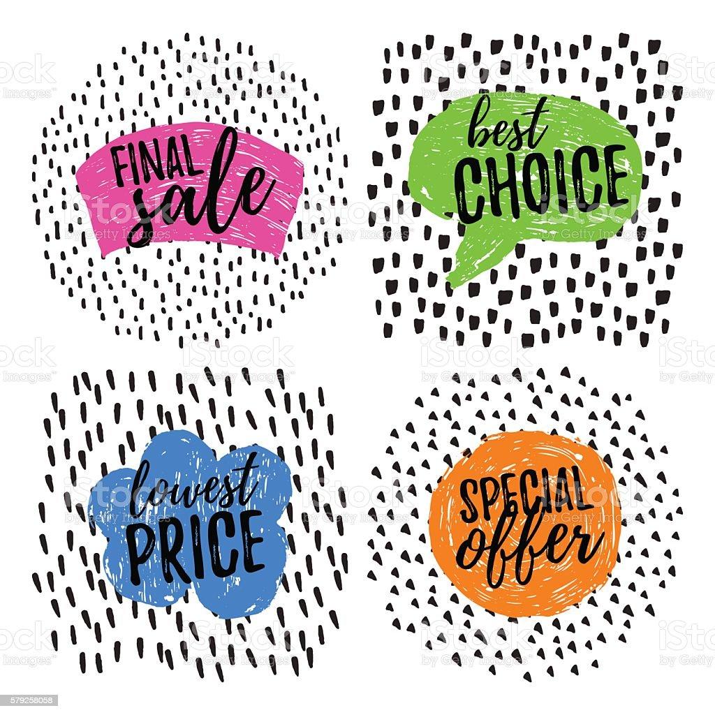 Funny Sale tags vector art illustration