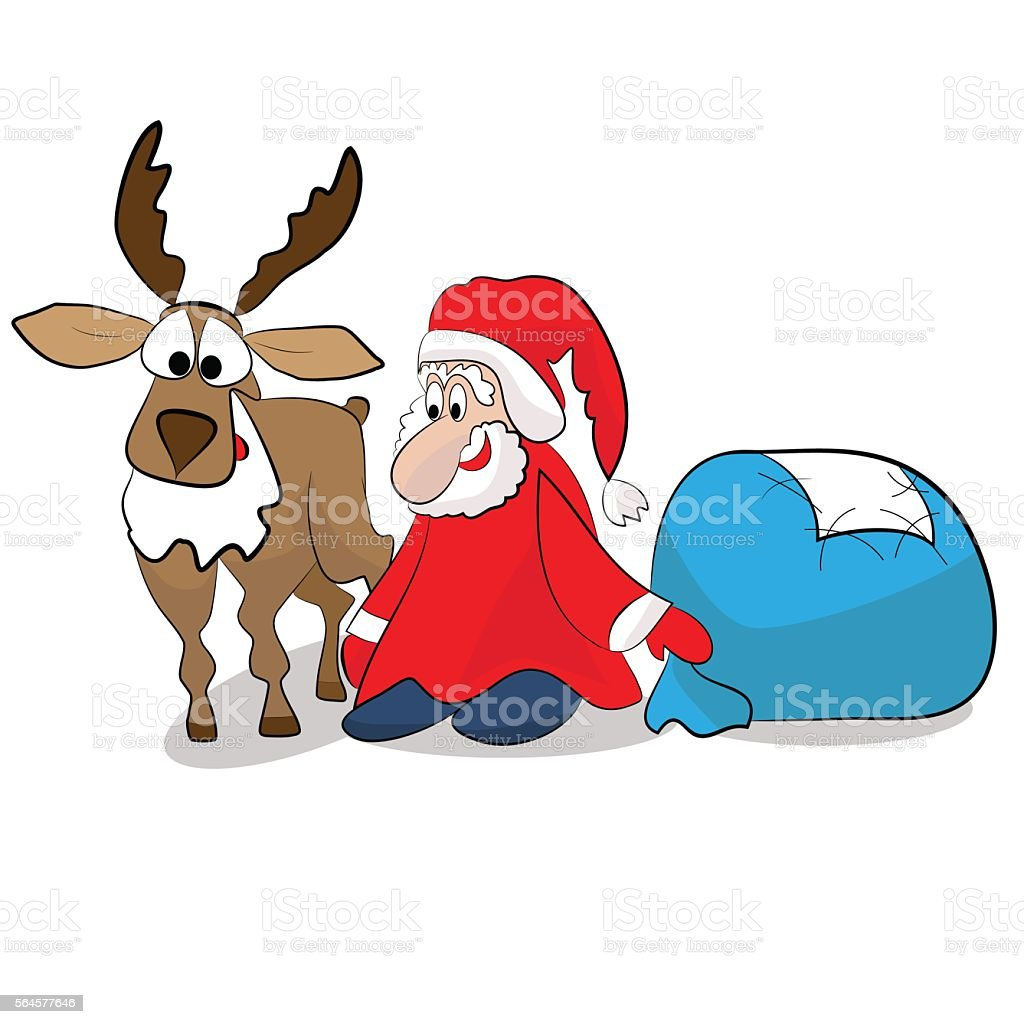 Funny Santa Claus with blue bag and brown deer royalty-free stock vector art