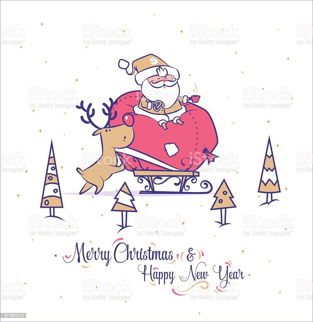 Funny santa set . Christmas greeting card background poster. Vector illustration. vector art illustration