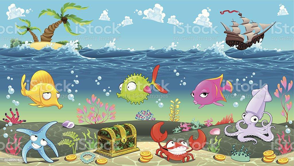 Funny scene under the sea. royalty-free stock vector art