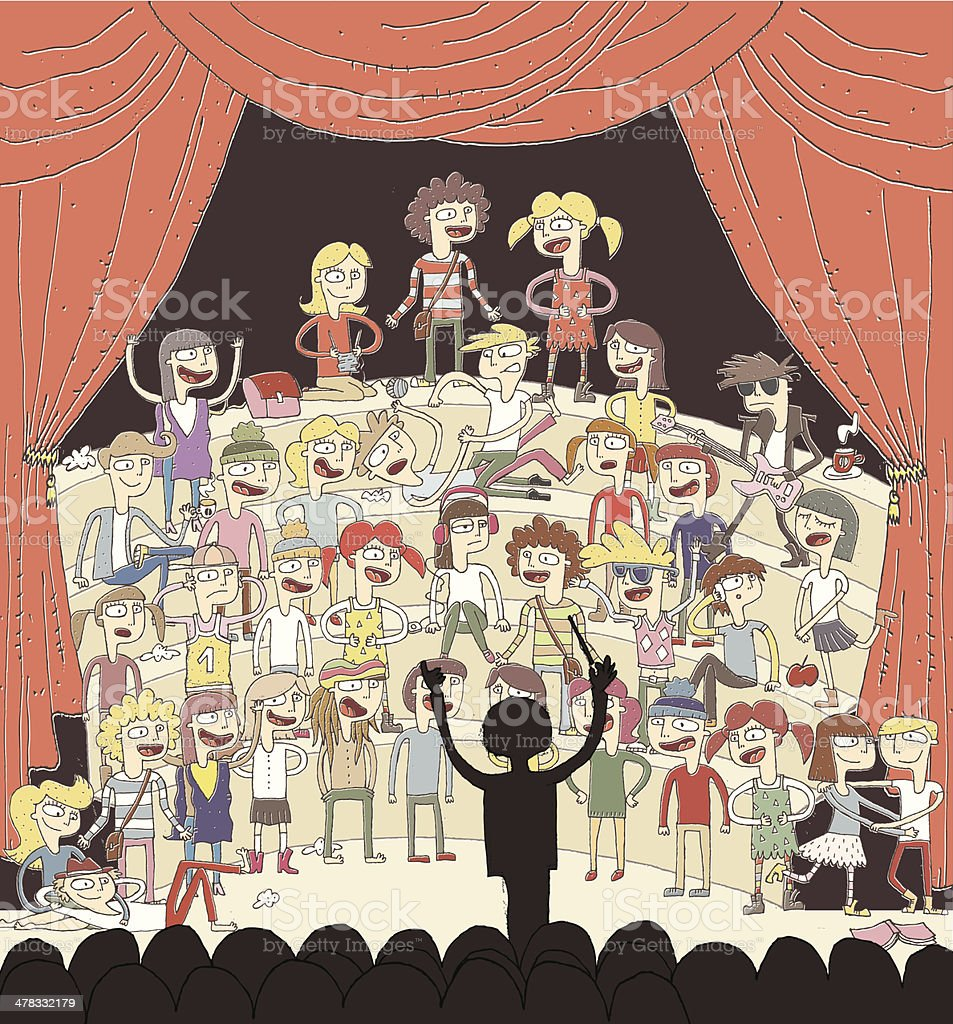 Funny school choir singing vector art illustration