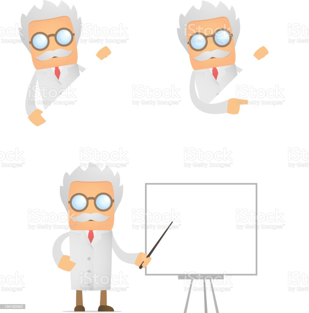 funny scientist looks out over an empty field royalty-free stock vector art