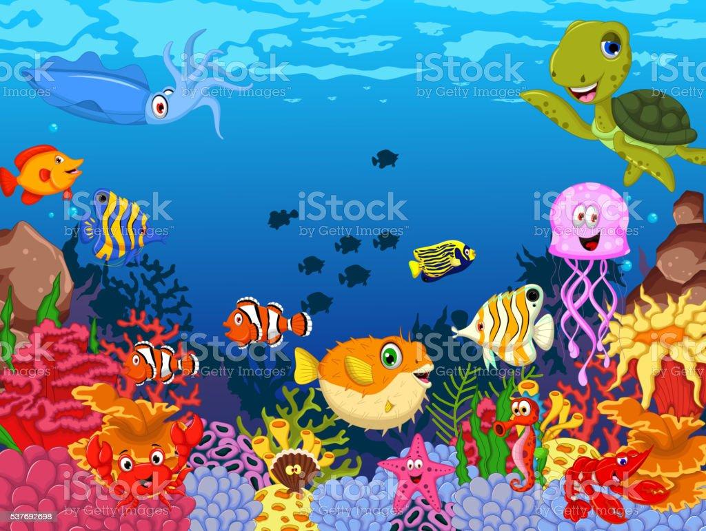 funny sea animals cartoon set stock vector art 537692698 istock