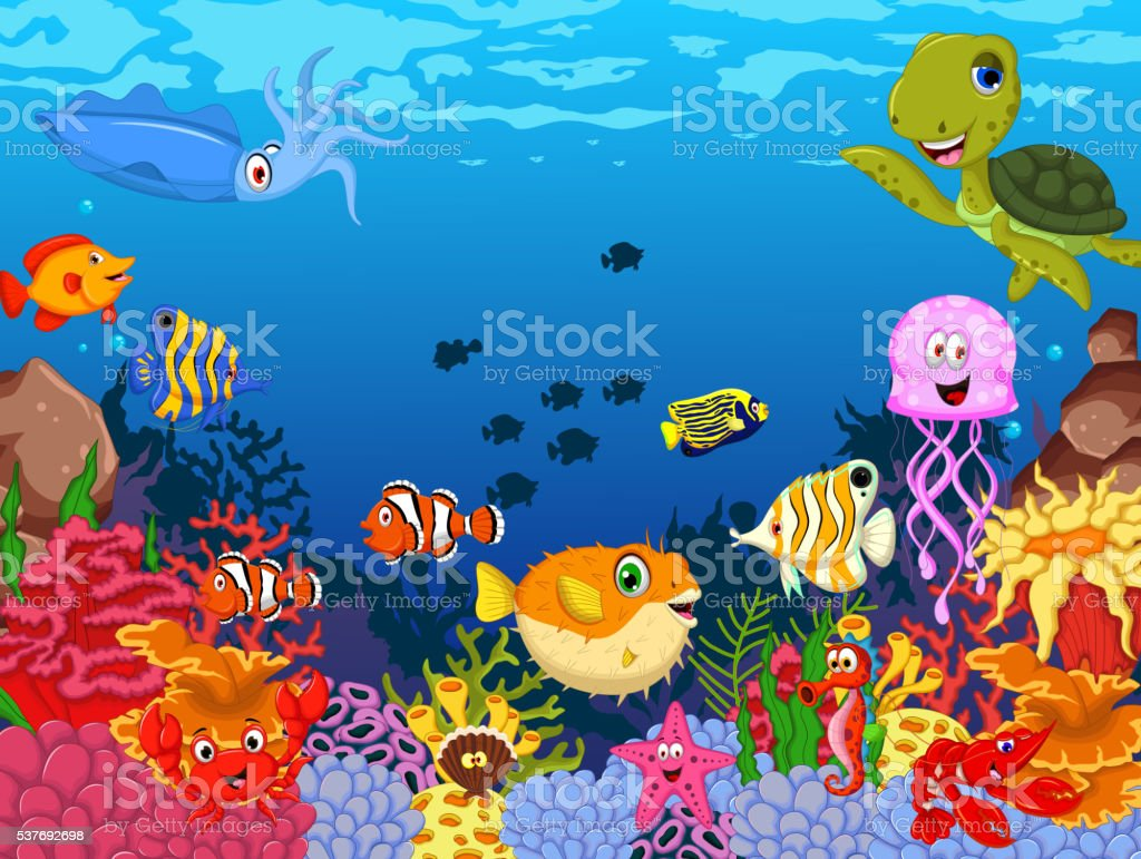 funny sea animals cartoon set vector art illustration
