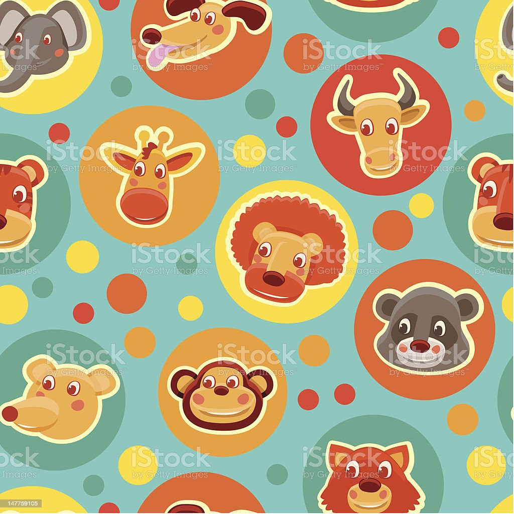 Funny seamless pattern with cartoon animal heads royalty-free stock vector art