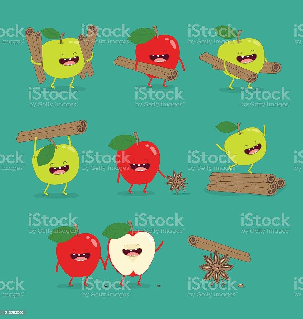 Funny set apple vector art illustration