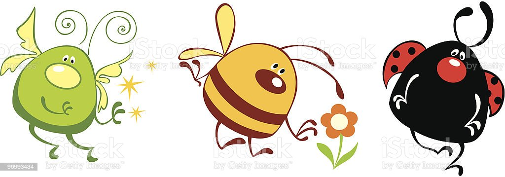 Funny set of cute insects royalty-free stock vector art