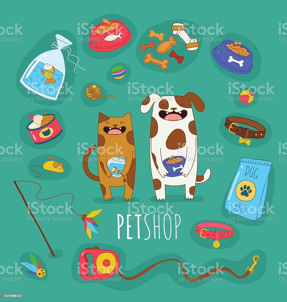 Funny set of dog and cat vector art illustration