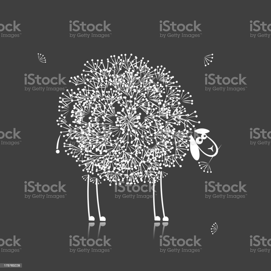 Funny sheep, sketch for your design royalty-free stock vector art