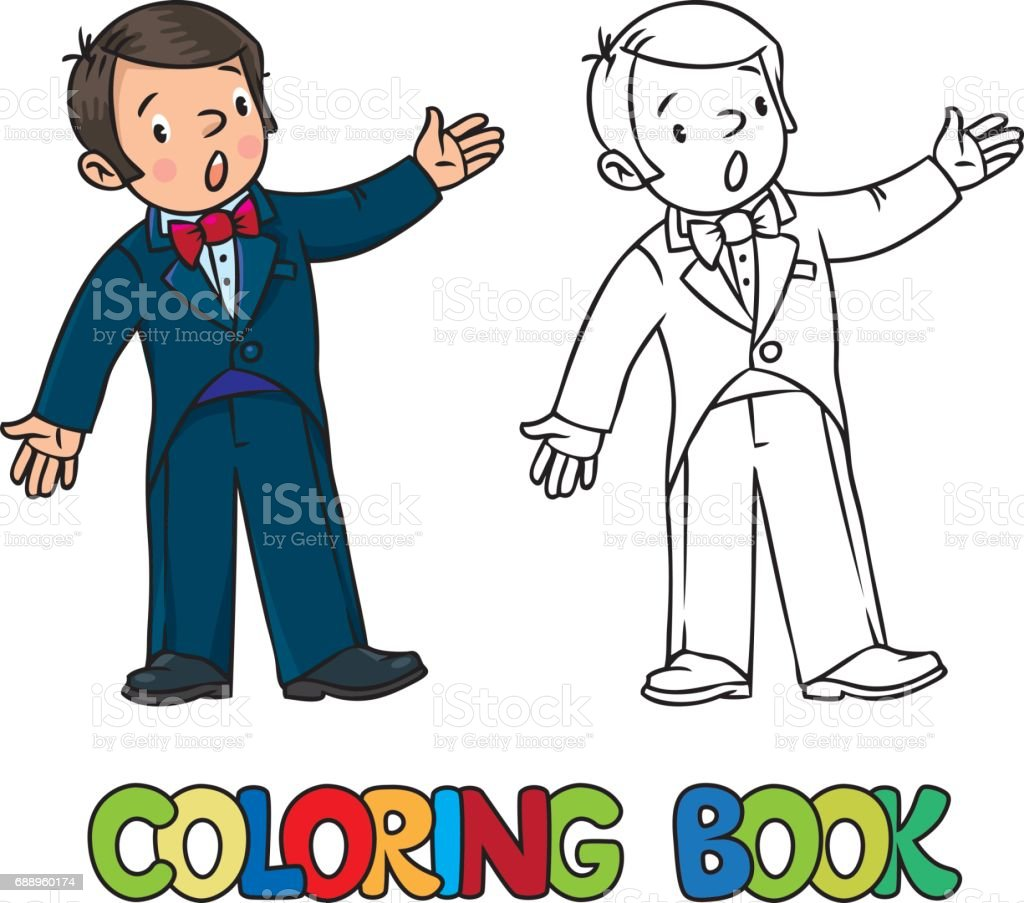 Funny singer or vocalist. Coloring book vector art illustration